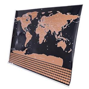 フェリモア 世界地図 ポスター スクラッチ 削れる 旅行用 見やすい マップ 国旗入り 2枚セット happy-square