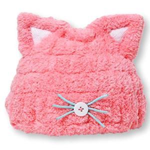 Felimoa 子供用 吸水 タオルキャップ ねこみみ ドライキャップ ふわふわ アニマル かわいい お風呂上がり 全2色 ( happy-square