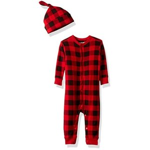 Hatley ハットレイ カバーオール・ロンパース帽子付きセット、赤のチェック 8590cm、18M-24M(84-89cm) DR2PLAD002 happy-square