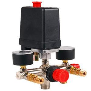 フェリモア エアーコンプレッサー バルブ マニホールド レギュレータ 圧力制御 スイッチ 小型|happy-square