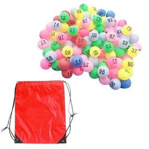 HAMILO ピンポン玉 抽選 カラーボール 番号付き 玉 ビンゴ くじ引き 収納バッグつき (1-100)|happy-square