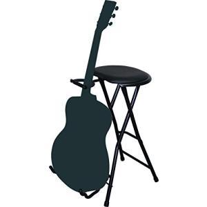 キクタニ ギタースタンド付弾き語り用椅子 ドラムスローン TFLC-006 ブラック|happy-square