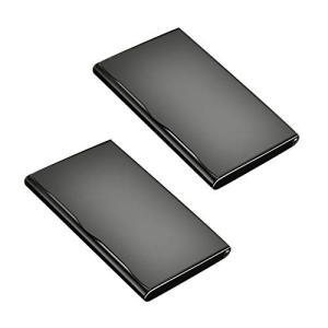 HAMILO 名刺入れ 卓上名刺スタンド 薄型 ステンレス製 20枚収納 折れない フロッキング加工 (2個セット) happy-square