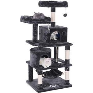 キャットタワー 猫タワー 大型猫 ネコタワー 天然サイザル麻紐 爪とぎ 2つ猫ハウス 猫 ハンモック 多頭飼い ね|happy-square