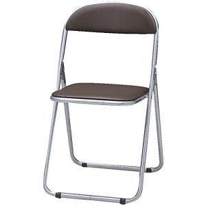 TRUSCO(トラスコ) 折りたたみパイプ椅子 ウレタンレザーシート貼り ブラウン FC-1000TS-BR happy-square