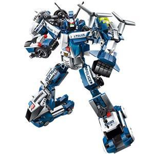 フェリモア 変形ロボット 車 合体ロボット パトカー 白バイ ブロック 緊急車両 警察 ミニカー (ホワイトブルー)|happy-square