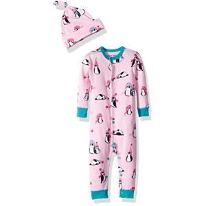 Hatley ハットレイ LBH Infant Coverall & Cap - Winter Penguins パジャマ、楽しい愉快なペンギンちゃん 85~90cm、18M-24M(84-89cm) happy-square