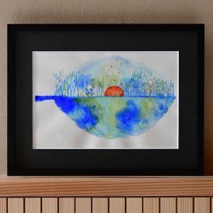 絵画 インテリア 『 水彩画アース 』 水彩画 絵 壁掛け 壁飾り オリジナル アート 原画 Nor...