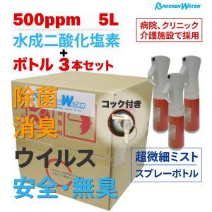 除菌スプレー コロナウイルス対策 水成二酸化塩素 500ppm ブロッケンウォーター 5L ミストシャワー 空ボトル3本 happybday