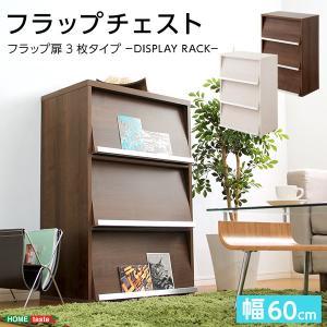 チェスト フラップチェスト 木製 おしゃれ 収納 シンプル 幅60 扉3枚 本棚 書棚 ラック 〔ディールズ〕|happyconnect