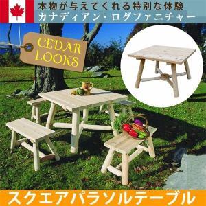ガーデンテーブル テーブル 木製  屋外 パラソル穴付き おしゃれ ベランダ ガーデン Cedar Looks|happyconnect