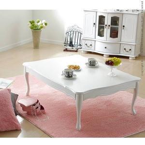 テーブル ローテーブル おしゃれ 折りたたみ ねこあし 105×75cm ホワイト 白 かわいい エレガント〔リサナ〕|happyconnect