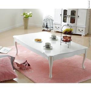 テーブル ローテーブル おしゃれ 折りたたみ猫足 アンティーク調 ホワイト 白 かわいい 120×75cm 〔リサナ〕|happyconnect