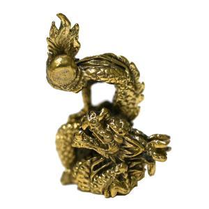 真鍮製の小さな置物 宝珠を掴む龍タイプ2|happyhour