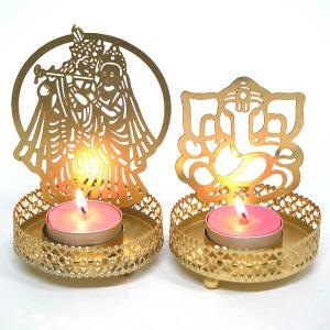 インドのヒンズー神の金属製 投影キャンドルホルダー/ガネーシャ、クリシュナ&ラーダ|happyhour