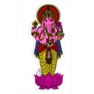 【ポスト投函便配送選択可能です】 インドの神様ガネーシャのステッカー! ラメが入っているのでキラキラ...