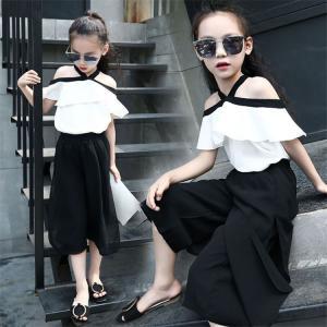 bc3fd7f1e0609 子供服 女の子 韓国 肩出し 夏 トップス +ロングパンツ ワイドパンツ 上下セット セットアップ キッズ 可愛い 2点セット 演出 発表会  ダンス衣装 おしゃれ