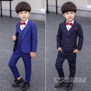 卒業式 スーツ 男の子 フォーマルスーツ キッズ 子供 スーツ 3点セット 上下セット 紳士服 チェ...