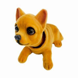 首振り人形の犬シリーズ、赤べこ風のバブルヘッド縁起物です。 かわいいチワワ犬です。  首振り人形は触...