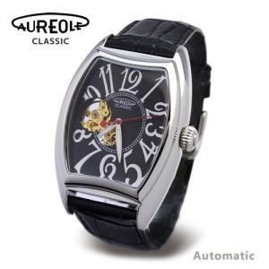 スケルトンウォッチ AUREOLE オレオール  自動巻腕時計 ブラック|happyplus