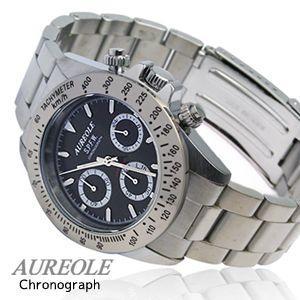 クロノグラフウォッチ AUREOLE オレオール  メンズ腕時計 クロノグラフ 10気圧防水 SW-581M-1|happyplus