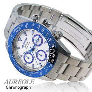クロノグラフウォッチ AUREOLE オレオール  メンズ腕時計 クロノグラフ 10気圧防水 SW-581M-4|happyplus