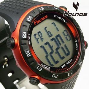 歩数計搭載 YOUNGS ヤンズ YP11562-01 デジタル腕時計|happyplus