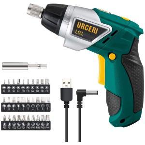 電動ドライバー 小型 電動工具 セット ミニ 女性 コードレス ビット 穴あけ 充電式 6+1トルク DIY 工具 LEDライト USB コンパクト URCERI 電動工具