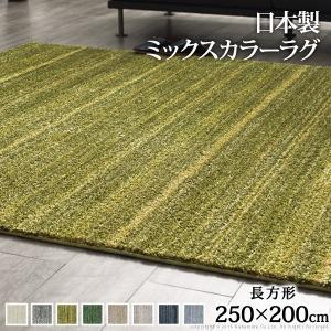 ラグマット 約3畳 長方形 250×200cm 洗える ミックスカラーラグ 防ダニ おしゃれ happyrepo