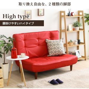 ハイバックソファー 2人掛け おしゃれ PVCレザー ポケットコイル使用 3段階リクライニング 日本製|happyrepo|10