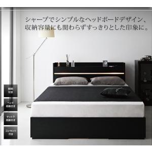 ライト・ヘッドボード収納付きベッド ポケットコイルマットレス付き:ハード ダブル|happyrepo|03