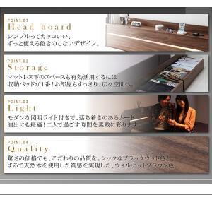 ライト・ヘッドボード収納付きベッド ポケットコイルマットレス付き:ハード ダブル|happyrepo|04
