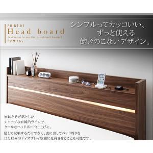 ライト・ヘッドボード収納付きベッド ポケットコイルマットレス付き:ハード ダブル|happyrepo|05