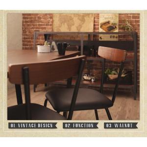 ダイニングテーブルセット 4人掛け おしゃれ 5点セット(テーブル150+チェア4脚) 天然木ウォールナット ヴィンテージ カフェ風ダイニング|happyrepo|04