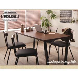 ダイニングテーブルセット 4人掛け おしゃれ 5点セット(テーブル150+チェア4脚) 天然木ウォールナット ヴィンテージ カフェ風ダイニング|happyrepo|09