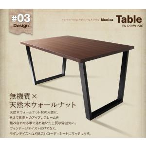 ダイニングテーブルセット 7人掛け おしゃれ 5点セット(テーブル120+ソファ+左アームソファ+チェア+ベンチ) アメリカンヴィンテージ happyrepo 11