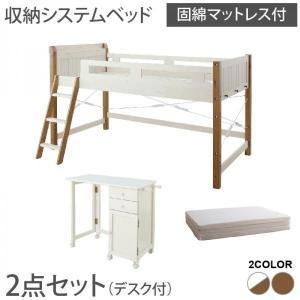 システムベッド 固綿マットレス付き デスク付 宮棚・コンセント付 天然木パイン材収納システムベッド シングル|happyrepo