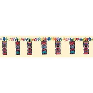 AmscanハワイアンサマービーチTiki Luau &フラワーレイガーランド装飾( 1?Piece )、マルチカラー、8.8?X 11.6? happysmile777