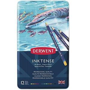 ダーウェント 水彩 色鉛筆 インクテンス ペンシル 12色セット 0700928 布/木目にも描ける 乾いたら耐水性|happysmile777