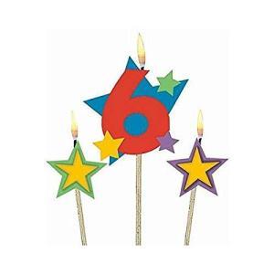 (1 Original Packaging) - Amscan International Birthday Candles on Sticks 6 happysmile777
