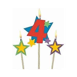 Party Time 星と数字の4セレブレーションキャンドル スティック付き 3 pieces 175206 happysmile777