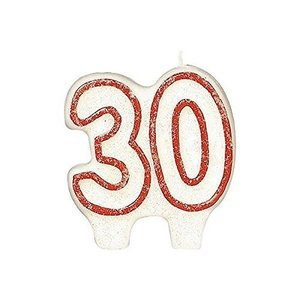 Amscan International Glitter Numeral Candle 30 Red happysmile777
