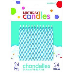Candy Stripe Blue Birthday Candles (24) キャンディストライプブルーバースデーキャンドル(24)♪ハロウィン♪ク happysmile777