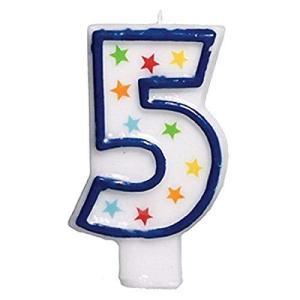 (1) - Star Studded Flat Moulded Number 5 Celebration Candle White 8.9cm Wax happysmile777
