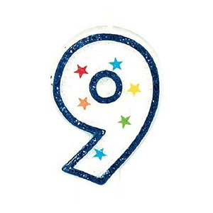 (1) - Star Studded Flat Moulded Number 9 Celebration Candle White 8.9cm Wax happysmile777