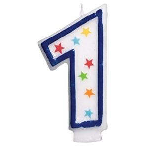 Star Studded Flat Moulded Number 1 Celebration Candle White 8.9cm Wax happysmile777