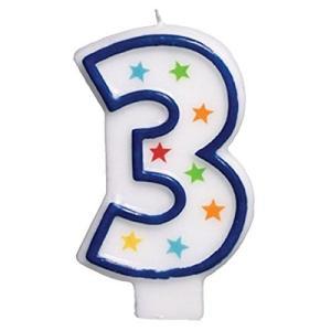 (1) - Star Studded Flat Moulded Number 3 Celebration Candle White 8.9cm Wax happysmile777