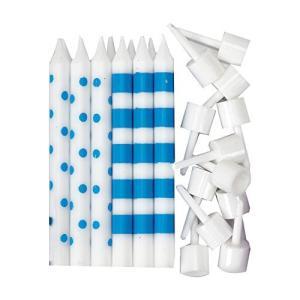 Bright Blue Dots & Stripes Candles|happysmile777