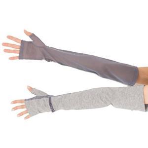 エル (ELLE) さらっと ひんやり 接触冷感 コットン & メッシュコンビ スマホ対応 指なし 50cm 丈 ロング タイプ UV手袋 メッシュ happysmile777