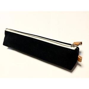 日本製 ペンケース 帆布 革 本革 スリム シンプル 三角 おしゃれ 人気 かわいい 筆箱 6色 (ブラック) happysmile777